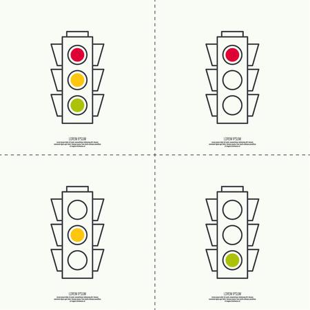 luz roja: Fondo abstracto con semáforos. Rojo, amarillo claro verde. iconos vectoriales. Esquema. mínima. Vectores