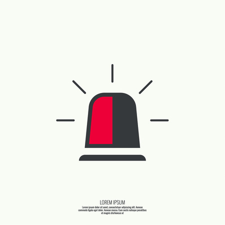 flashers: Icon of police, fire, ambulance siren. Icon spinning flashers with scattered rays. Flat style Illustration