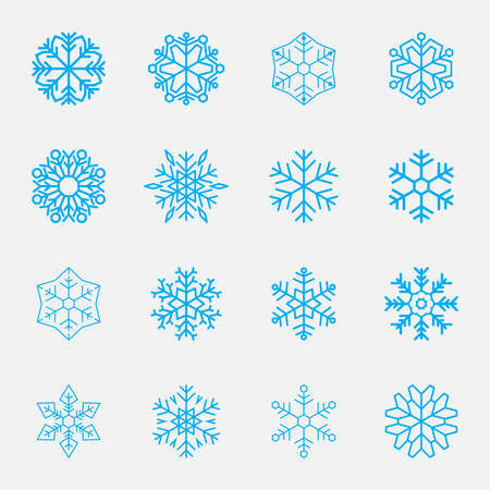 winter snow: Vector set of snowflakes for holiday decorations Illustration