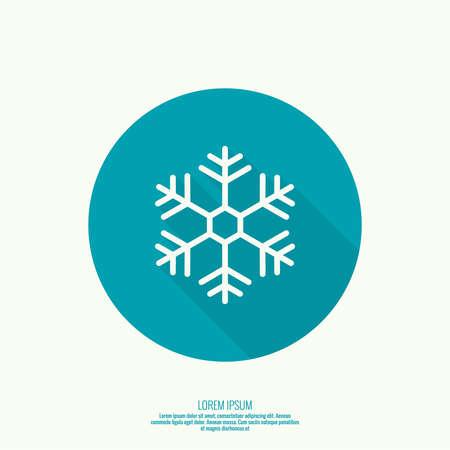 copo de nieve: Bot�n del vector con el copo de nieve. Icono del tiempo. Estilo plano con larga sombra