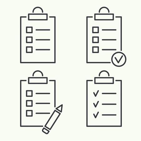 cheque en blanco: Establecer iconos vectoriales. portapapeles con lista de tareas pendientes y lápiz. Las líneas con casillas de verificación. lista de verificación para la nota. consentimiento. marca de verificación. elecciones y votantes. contorno. mínimo