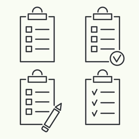 checklist: Set vector icons. clipboard with to do list and pencil. Lines with check boxes. checklist for note. consent. check mark. election and voting. outline. minimal