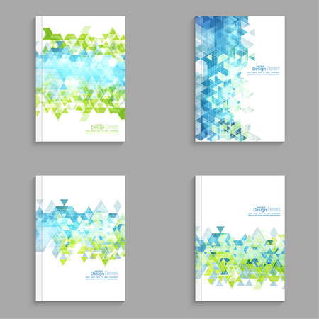 sjabloon: Dekking van het Tijdschrift met hipster driehoeken. Voor boek, brochure, flyer, poster, boekje, brochure, cd inham, briefkaart, visitekaartje, jaarverslag. abstracte achtergrond. cyaan, groen