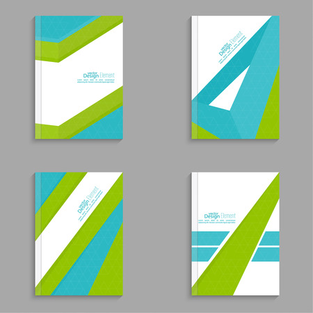 notebook cover: Set Magazine Cover with origami intersecting ribbons. For book, brochure, flyer, poster, booklet, leaflet, cd cover, postcard, business card, annual report. vector illustration. abstract background
