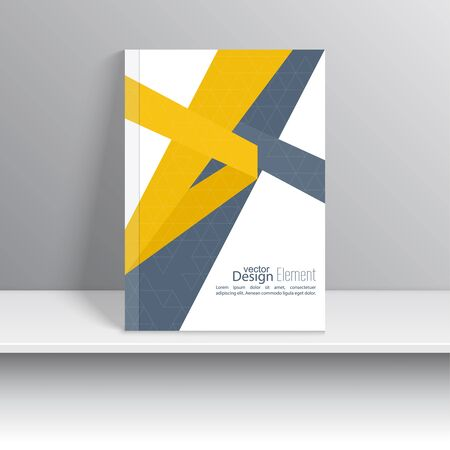 for design: Magazine Cover with origami intersecting ribbons. For book, brochure, flyer, poster, booklet, leaflet, cd cover design, postcard, business card, annual report. vector illustration. abstract background
