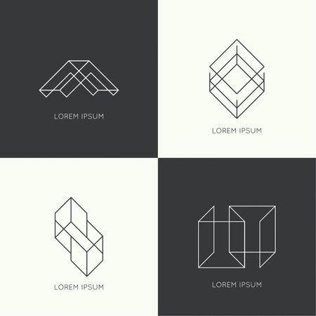 insignias: Set of vector hipster logo, badge, monogram, banner, insignias. Border and frame. Minimal design. Outline.