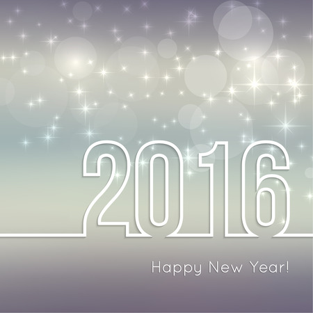 new year: Abstract blurred vector background with sparkle stars. Happy New Year 2016. For decorations  festivals, xmas, glamour holiday, illuminated, celebration Illustration
