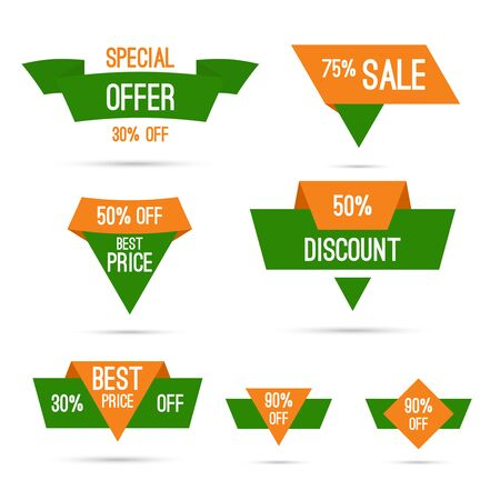 Set tags with ribbons and labels. special offer, discount and percentages, price. India national colors, white, green, orange. Discounts for Independence Day and Republic Day of India Illustration