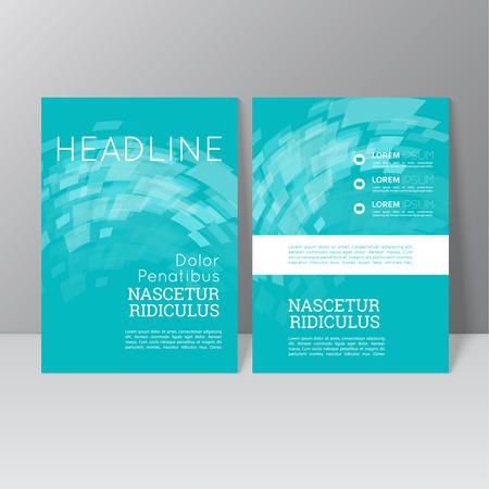magazine: Vector brochure template design with the wave, swirl and different elements. Flyer or booklet Layout. Illustration