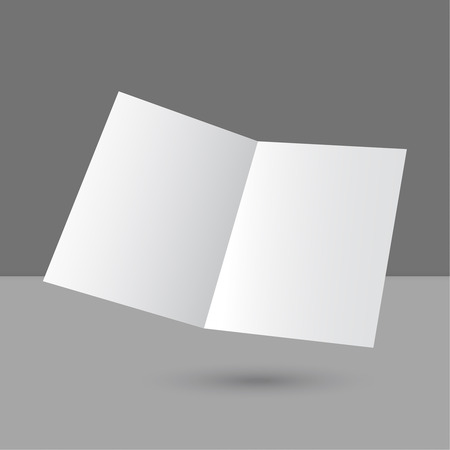 cover page: Hovering blank two fold paper brochure on gray background. Open magazine. Cover for your design