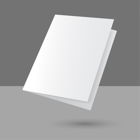 presentation card: Hovering Blank empty magazine or book or booklet, brochure, catalog, leaflet, template on a gray background. vector Illustration