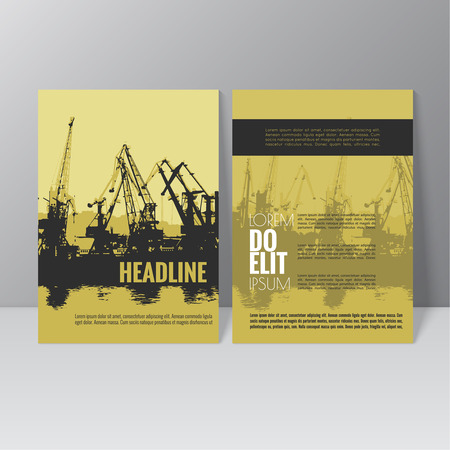 ベクトル パンフレット テンプレート デザイン。港湾貨物業界の設計のためのアンロードを読み込んでいます。クレーンの作業。シルエット。抽象