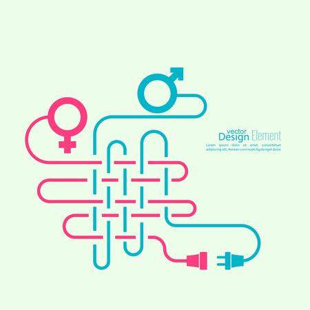 男性と女性のシンボルともつれた配線問題の抽象的な背景。男女関係の難しさ。概念接続、接続、切断の関係。