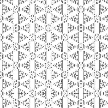 normal: Vector abstract seamless pattern. Repeating geometric tiles with hexagonal mesh of triangles and geometric shapes