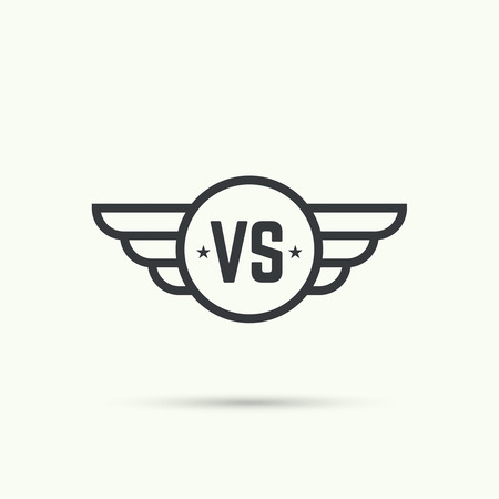 versus: Versus sign. Badge with wings. Concept of opposition, battle, confrontation