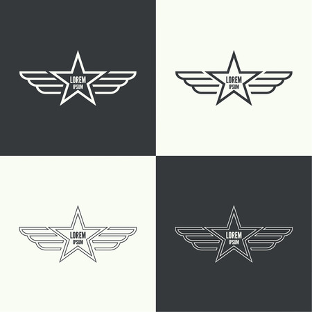patches: Badge and shield with wings. Symbol of military and civil aviation. Outline  emblems Illustration