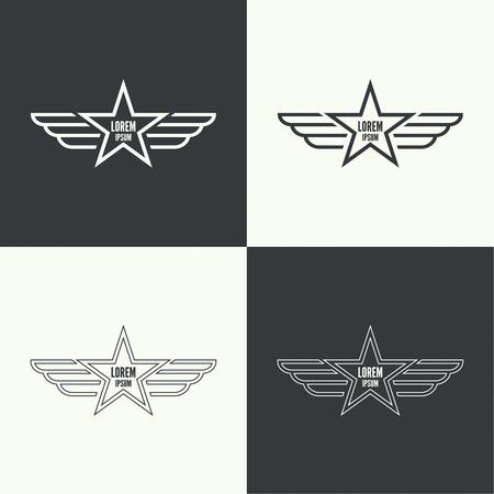 insignias: Insignia y el escudo con alas. Símbolo de la aviación militar y civil. Emblemas Outline