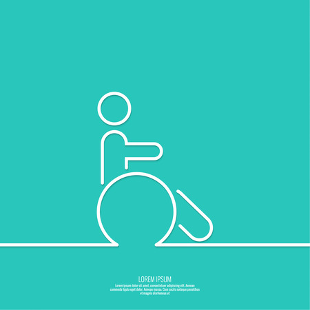 immobility: Symbol man on the wheelchair. Limited capacity, parking, toilet for the disabled. minimal. Outline Illustration