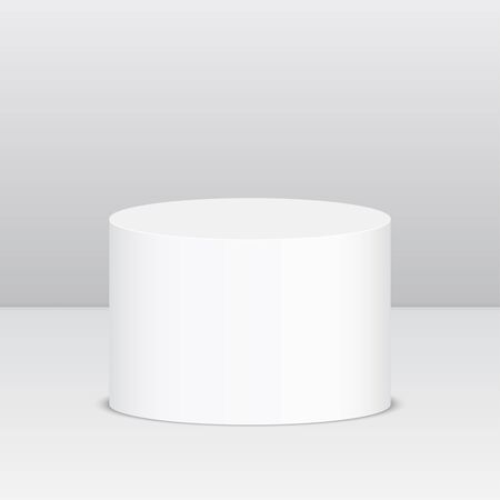 podium: Round pedestal for display. Platform for design. Realistic 3D empty podium Illustration