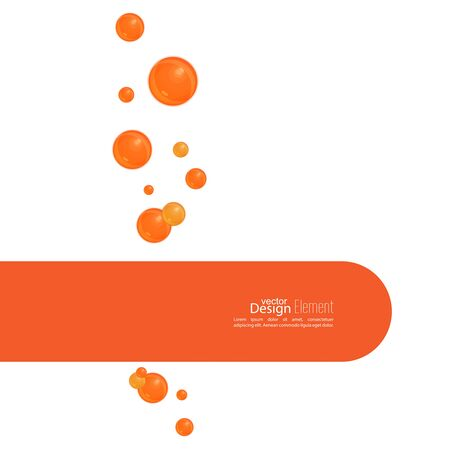 bleb: Abstract background wit orange soap bubbles and semicircular banner with space for text.