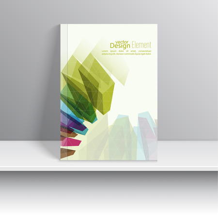report cover design: Magazine Cover with colored crystals, trellis structure. For book, brochure, flyer, poster, booklet, leaflet, cd cover design, postcard, business card, annual report. vector illustration. abstract background