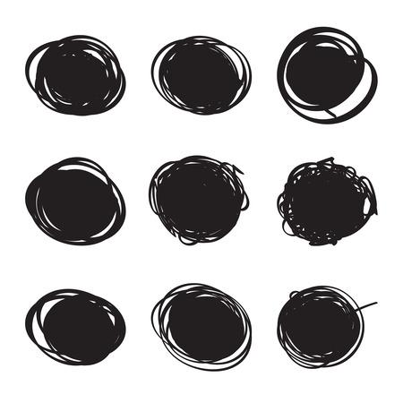 for text: Set hand drawn ovals, felt-tip pen circles. Rough blob frame elements. banner for text ads Illustration