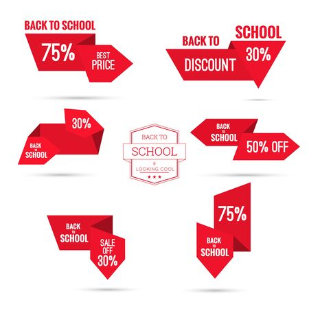price cut: Set tags with ribbons and labels. special offer, discount and percentages, price, back to school