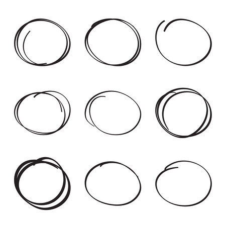 hand pen: Set hand drawn ovals, felt-tip pen circles. Underlining, note, highlight important information. Rough frame elements.