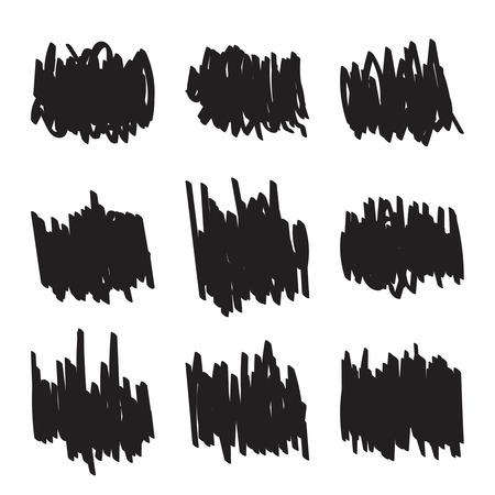garabatos: Figuras dibujadas Conjunto de mano, de punta rotulador garrapatos. Elementos de marco mancha �spera. bandera para los anuncios de texto