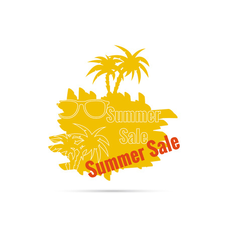 cost reduction: Summer sale design template with palm tree, sunglasses. Illustration