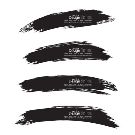 Set of hand drawn grunge brush smears. dark color Çizim