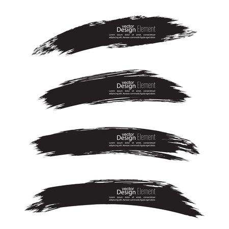 Set of hand drawn grunge brush smears. dark color Illustration