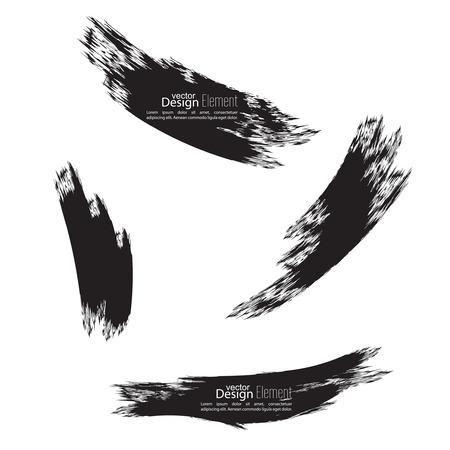paint drips: Set of hand drawn grunge brush smears. dark color Illustration