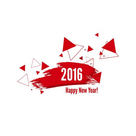 watercolor smear: Smear a watercolor painting. creative happy new year 2016 design with hipster triangle. red color.