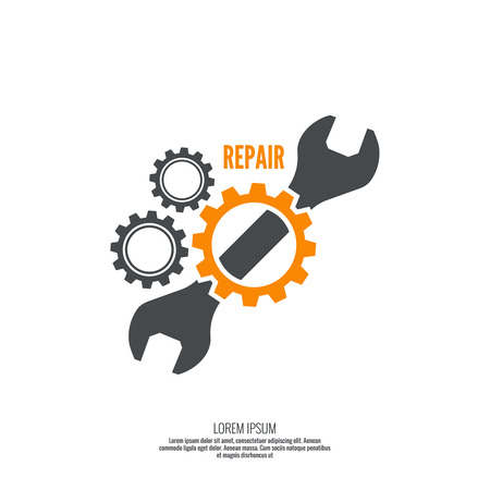 service: Wrench and gear icon. Mechanic service and mechanics, connection and operation engineering design work.