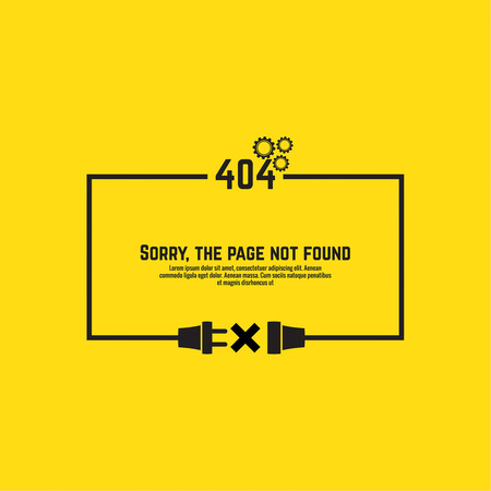 not found: 404 connection error. Abstract background with wire plug and socket. Sorry, page not found. vector.