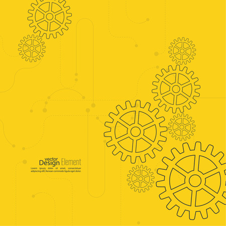 technical background: Abstract background with gear wheel, geometric shapes and dotted lines. schematic representation technical data. Concept of motion,  mechanics, connection and operation engineering design work. yellow