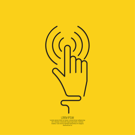 hand click. Hand cursor sign. minimal, outline. yellow