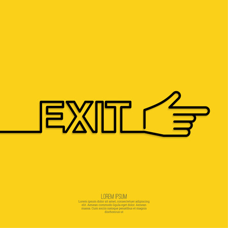 moving out: Emergency exit sign with a pointing hand. vector. Outline, minimal. yellow background