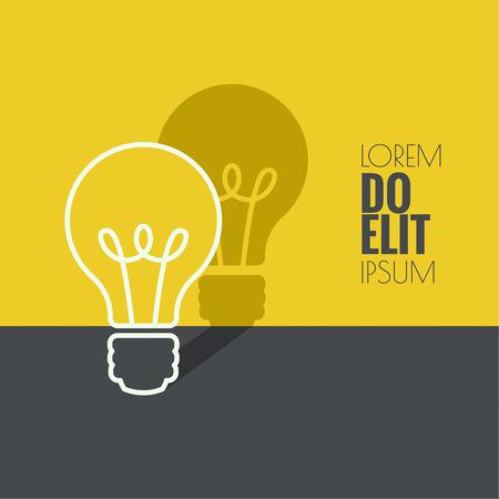Lamp licht idee. plat ontwerp. concept van de ideeën inspiratie innovatie, uitvinding, effectief denken Stock Illustratie