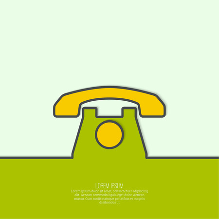dialer: Abstract background with an old rotary telephone. Call technical support. Contacts. vector. Flat design with shadow. minimal, outline