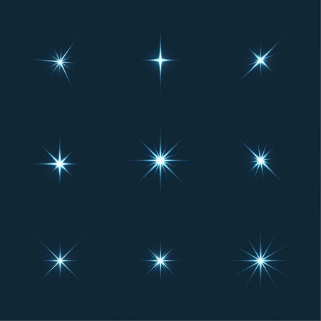 Vector set of sparkle lights stars. Stars with rays, explosion, fireworks. Dark background Vettoriali