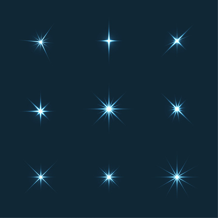 Vector set of sparkle lights stars. Stars with rays, explosion, fireworks. Dark background Illusztráció