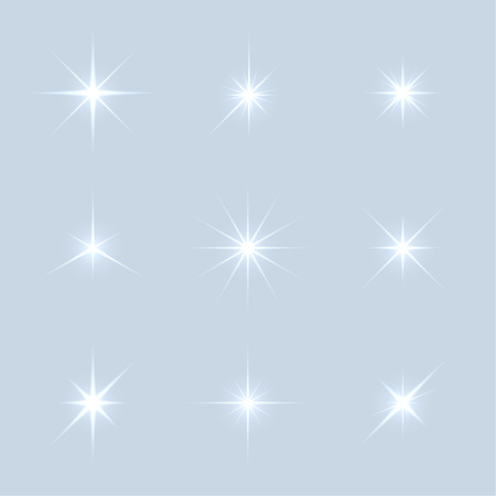 highlight: Vector set of sparkle lights stars. Stars with rays, explosion, fireworks. Light background Illustration