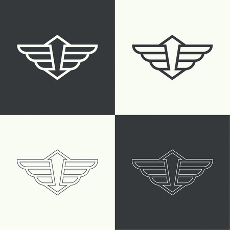 guard: Badge and shield with wings. Symbol of military and civil aviation. Outline  emblems Illustration