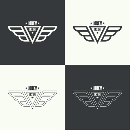 bird wings: Badge and shield with wings. Symbol of military and civil aviation. Outline  emblems Illustration