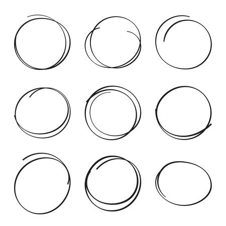 underscore: Set hand drawn ovals, felt-tip pen circles. Underlining, note, highlight important information. Rough frame elements.