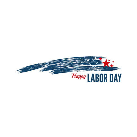 Labor day banner with stars and the national colors of the USA Illustration
