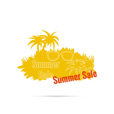 inexpensive: Summer sale design template with palm tree, sunglasses. Illustration
