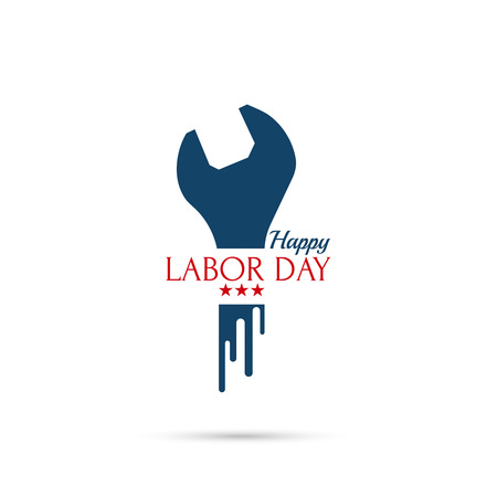Labor day banner, sign. National Day of the United States of America. wrench inscription and stars